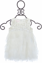 Biscotti Party Petals Ruffle Dress Ivory
