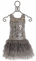 Biscotti Sequin Girls Dress in Silver (4 & 5)