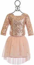 Biscotti Sequin Top with Tulle Skirt in Pink
