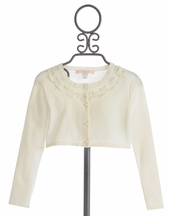 Biscotti Sheer Bliss Sweater with Ribbon in Ivory (2T,4T,4,10)