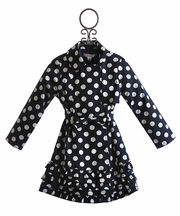 Biscotti Trench Coat Polka Dot Navy and White (Size 6)