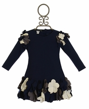 Biscotti Uptown Petals Infant Dress Navy (Size 24Mos)