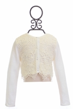 Biscotti Off White Cardigan for Girls