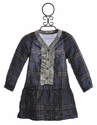 Blu Pony Vintage Tilly Girls Dress in Blue Plaid