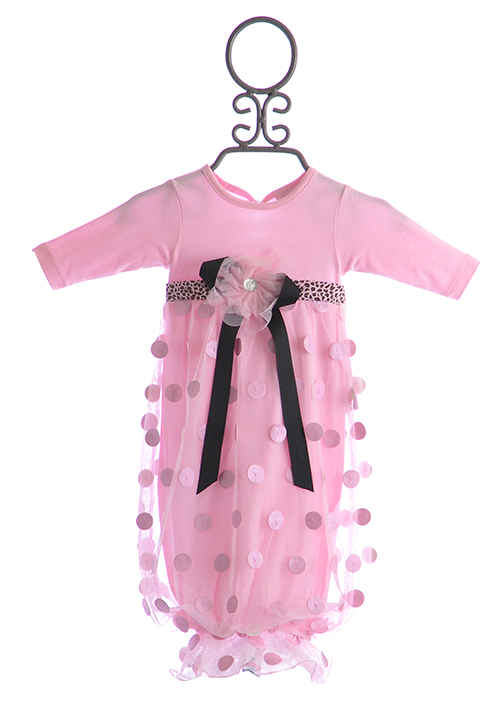 Cach Cach Baby Gown In Pink
