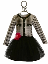 Cach Cach Black and White Houndstooth Tutu Dress
