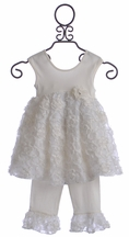Cach Cach Cream Pie Capri Set for Girls in Ivory (18Mos & 6)