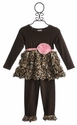 Cach Cach Lipstick Jungle Girls Bubble Hem Top with Pant