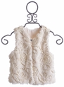 Cach Cach Little Girls Vest in Ivory Faux Fur
