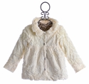 Cach Cach Little Girls White Faux Fur Coat