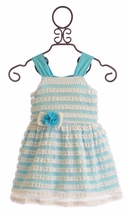 Cach Cach Malibu Beach Stripes Girls Dress in Blue