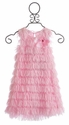 Cach Cach Marabou Fringe Girls Sleeveless Dress Pink
