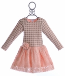 Cach Cach Pink Dress for Girls in Houndstooth
