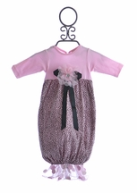 Cach Cach Pink Leopard Print Baby Gown
