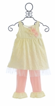 Cach Cach Sugar Frosted Lace Little Girls Outfit in Ivory