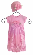 CachCach Pink Baby Gown with Hat