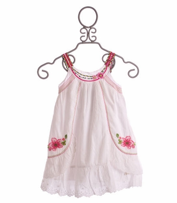 Catimini Spirit Denim White Eyelet and Floral Embroidery Sundress