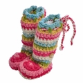Chi Bella Candy Pink Stripe Knit Boots for INFANTS