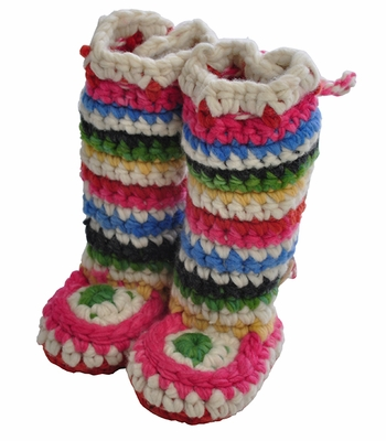 Chi Bella Striped Chunky Knit INFANT Boots