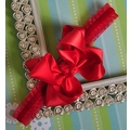 Classy Baby Girls Satin Bow Headband in Red