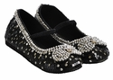 Coastal Projections Black Holiday Shoes for Girls with Bows