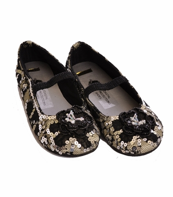Coastal Projections Black Lace Flats - Sequin Shoes with Beaded Rosettes