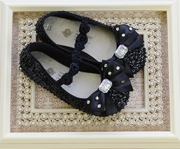 Coastal Projections Black Sequin Flats with Bow