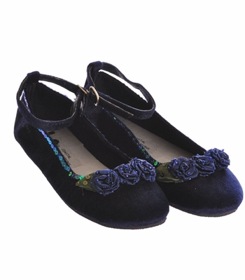 Coastal Projections Blue Velvet Flats - Girls Shoes with Satin Rosettes
