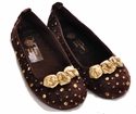 Coastal Projections Brown Velvet Flats - Little Girl Shoes
