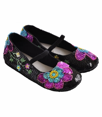 Coastal Projections Girls Black Sequin Shoes Vibrant Flowers
