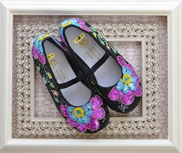 Coastal Projections Black Sequin Shoes with Flowers (Infant 4 & 5)