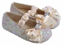 Coastal Projections Girls Ivory Sequin Shoes with Bow