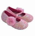 Coastal Projections Girls Pink Sequin Flats with Flower