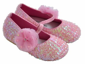 Coastal Projections Girls Pink Sequin Flats with Flower (Infant 0, 1, 2)