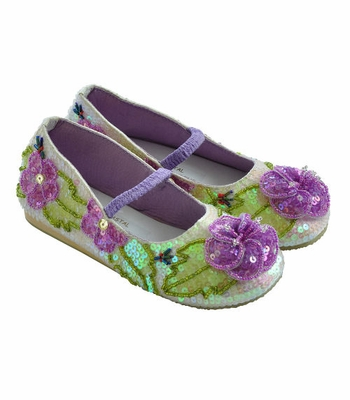 Coastal Projections Girls Sequin Shoes Lilac and Cream Garden