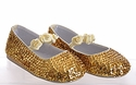 Coastal Projections Gold Rosette Girls Sequined Shoes