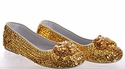 Coastal Projections Gold Sequin Girls Shoes with Flower