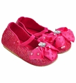 Coastal Projections Hot Pink Girls Sequin Shoes with Bow