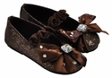 Coastal Projections Little Girls Brown Flats Glittering Bow