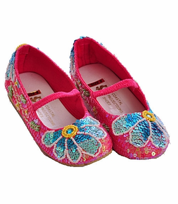 Coastal Projections Little Girls Sequin Shoes Fuchsia Flowers