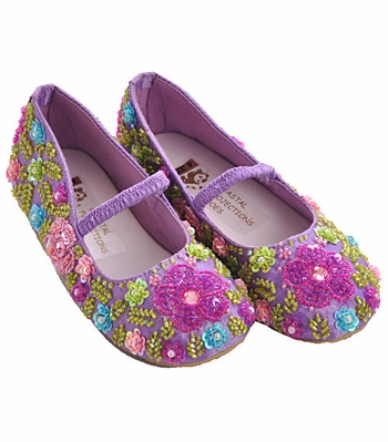Coastal Projections Little Girls Sequin Shoes Lilac Flowers