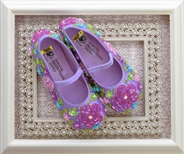 Coastal Projections Little Girls Sequin Shoes Lilac Flowers (4 Infant,8,10)