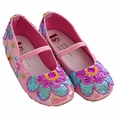 Coastal Projections Little Girls Sequin Shoes Pink Flowers