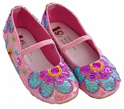 Coastal Projections Little Girls Sequin Shoes Pink Flowers (Infant 0, 1, 2, & 3)