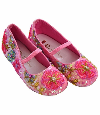Coastal Projections Little Girls Sequin Shoes Pink Garden