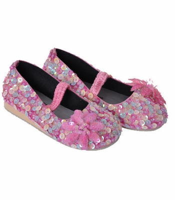 Coastal Projections Pink Flower Sequined Ballet Flats