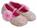 Coastal Projections Pink Girls Pastel Sequin Shoes with Flower