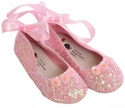Coastal Projections Pink Sequin Flats- Satin Tie Bow