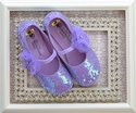 Coastal Projections Purple Girls Sequin Shoes with Flower