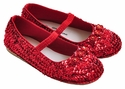 Coastal Projections Red Rosette Sequin Shoes
